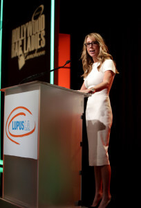 BEVERLY HILLS, CA - NOVEMBER 20: Honoree Eve Somer Gerber speaks on stage at the Hollywood Bag Ladies Luncheon to benefit Lupus LA at The Beverly Hilton Hotel on November 20, 2015 in Beverly Hills, California. (Photo by Tiffany Rose/Getty Images for Lupus LA)